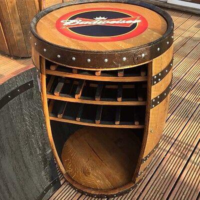 """Weinregale Massiv Eichenholz Whiskey Fass Budweiser """" Blattschnitt """" Getränkeschrank Reich An Poetischer Und Bildlicher Pracht Bar & Wein-accessoires"""