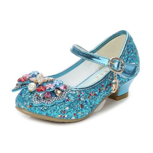 Girls Princess Dancing Shoes Kids Sequins Sandals Mid Heels Dress Shoes UK 8.5-4