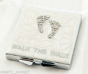 8399-WALK-THE-WALK-WHITE-RHINESTONE-DUAL-SIDED-COMPACT-MIRROR-MAGNIFYING