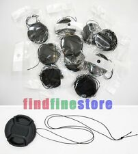 10pcs 49mm Center-Pinch Front Lens Cap + String for Nikon Canon Sony Olympus 10x