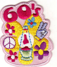 """""""60's"""" PATCH - HIPPIE - RETRO - PEACE - WOODSTOCK - Iron On Embroidered Patch"""