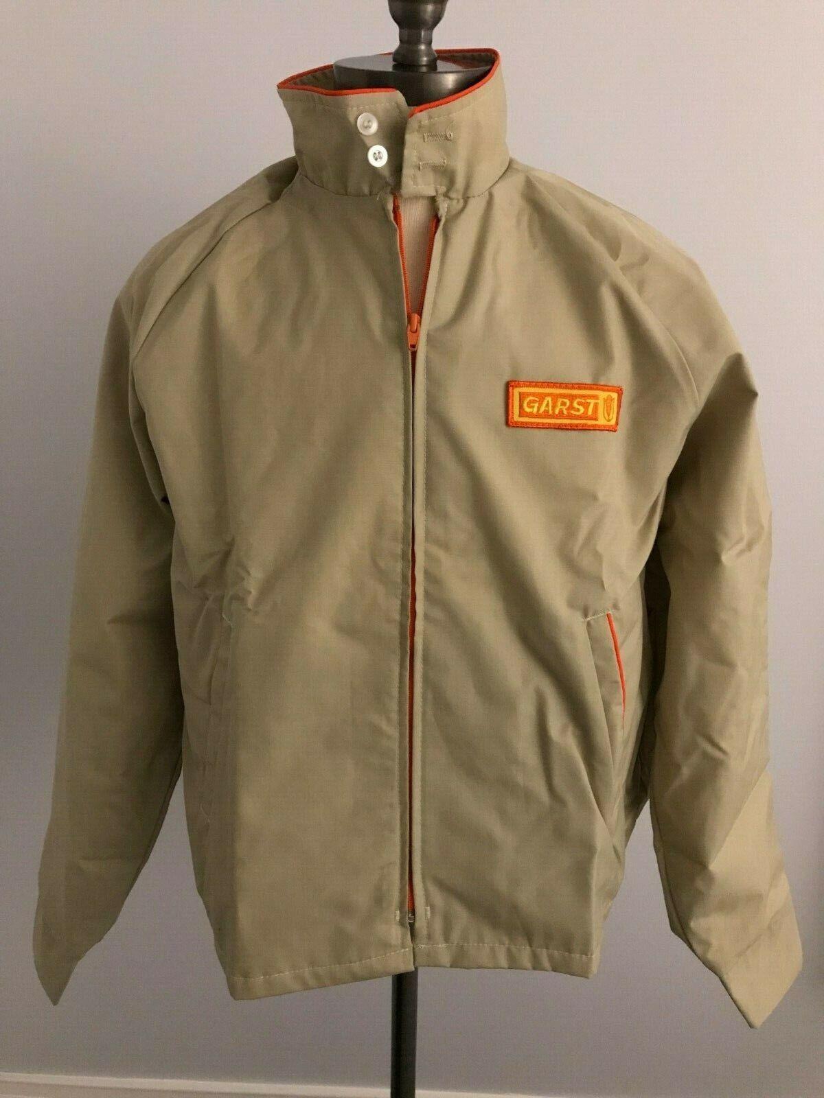 Vintage 80's Garst Tan Zip-Up Windbreaker   Coat - SZ  L - Swingster - Farmer