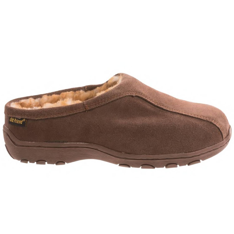Pantofole da uomo uomoS OLD FRIEND ALPINE GENUINE SHEEPSKIN SUEDE LEATHER SLIPPER CLOG BROWN 16 NIB