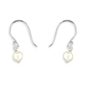 Image Is Loading White Freshwater Single Pearl Drop Hook Sterling Silver