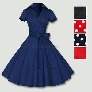 Women Polka Dot Swing 1950s Retro Housewife Pinup Vintage Rockabilly ... f137ee602e99
