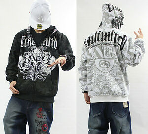Men S Ecko Unltd Hip Hop Zipper Cotton Lining Warm Hoodie Graffiti Print Sweater Ebay