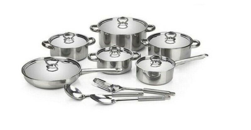Brand New 15 PIECES STAINLESS STEEL, HEAVY BOTTOM COOKWARE SET WITH STAINLESS LID