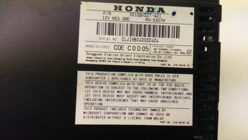 Original 2011 Honda CRZ CR-Z Hybrid Radio CD AUX 39100-SZT-A21