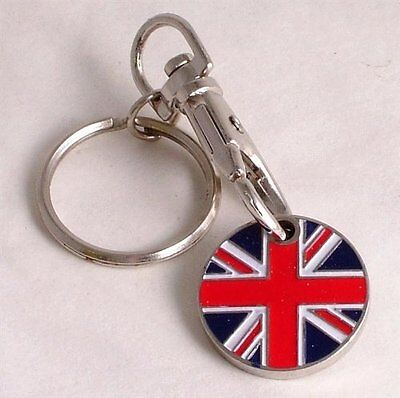2 PACK UNION JACK ONE POUND COIN TOKEN KEYRING GB SHOPPING TROLLEY KEYRING NEW