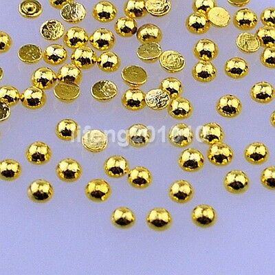 100PCS Gold Silver Round 3D Metal Nail Art Rhinestone Studs Decoration Tools 2MM