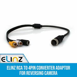 RCA to 4pin Monitor Converter Adaptor for Reversing Reverse Camera 36cm Elinz