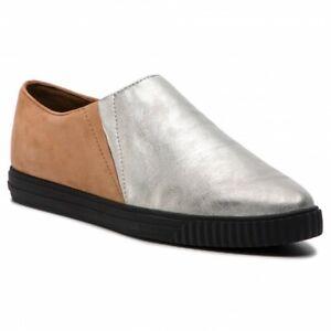 Estados Unidos más popular zapatos exclusivos Geox respira para Mujer Zapatos Planos Cuero amalthia Plata Toffee ...