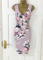 LIPSY Lilac Plunge Neck Floral Pencil Party Evening Dress SZ 4 6 8 10 12 14 16