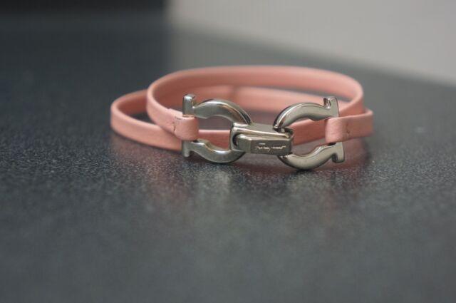 Leather Gancini Double Wrap Bracelet