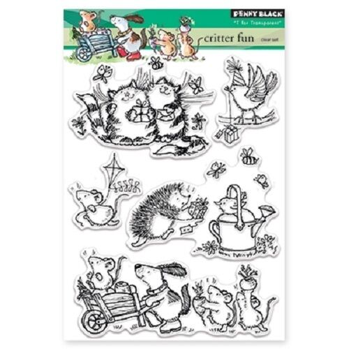 PENNY BLACK RUBBER STAMPS CLEAR CRITTER FUN NEW clear STAMP SET