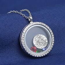 "30mm Floating Charms ""Forever in my heart"" Glass Locket Chain Pendant Necklace"