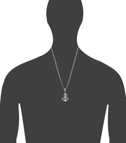 Sterling Silver Anchor Croix avec Jésus Charme Collier Pendentif Avec Diamant Coupe