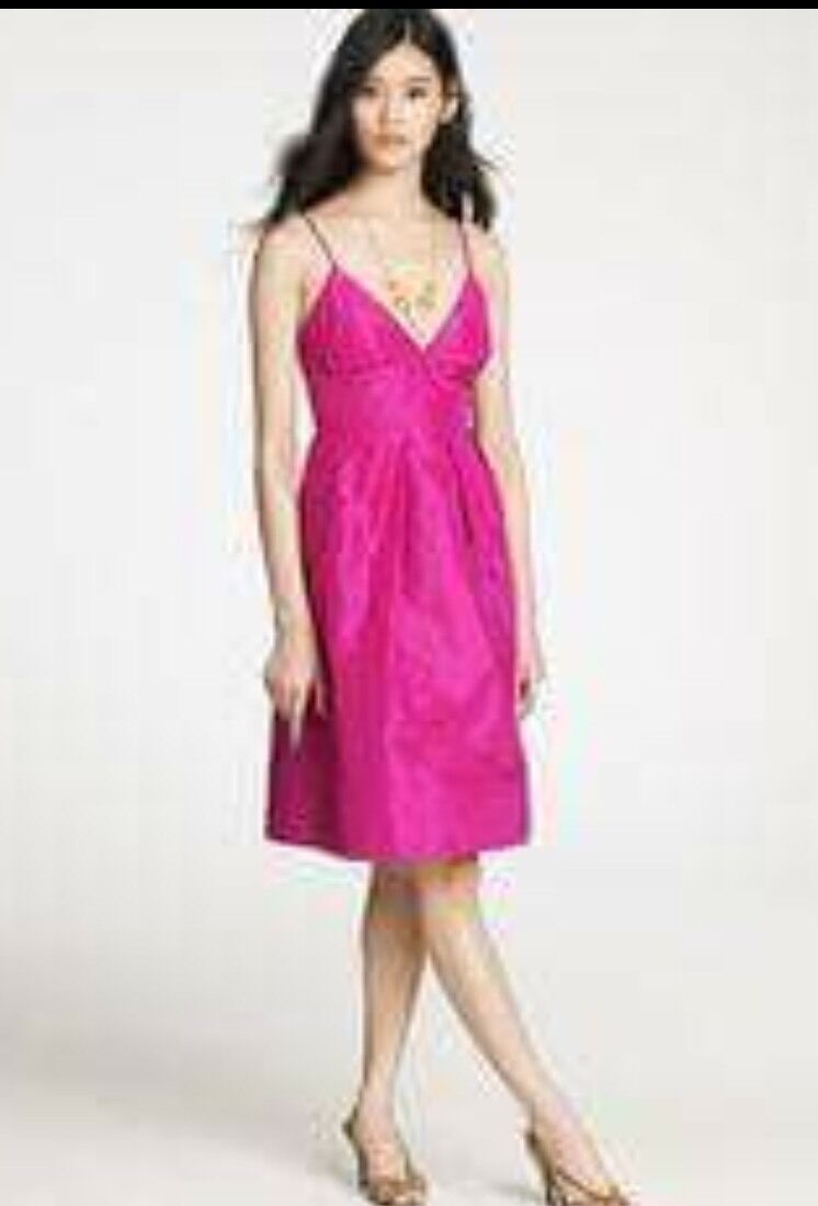 J.CREW ADRIENNE DRESS SILK HOT Rosa TAFFETA FITTED BODICE  Sz 4 JCREW  S1