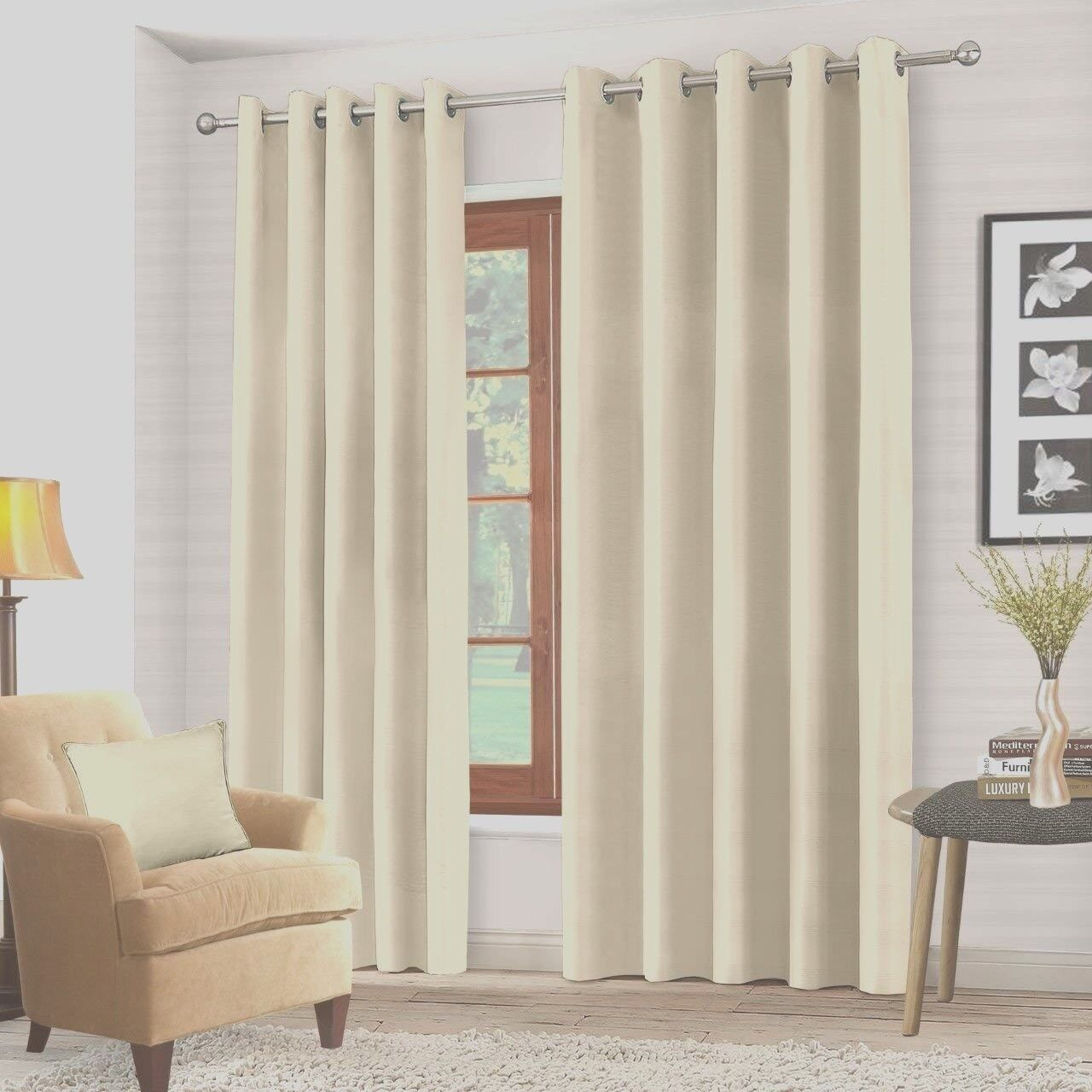 Blackout Ring Top Curtains In Cream Bedroom Living Room Curtains 66 X 54 Ebay