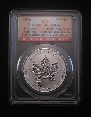 2016 Canada 1oz Silver Reverse Proof Maple Leaf w// Grizzly Privy PCGS SP69