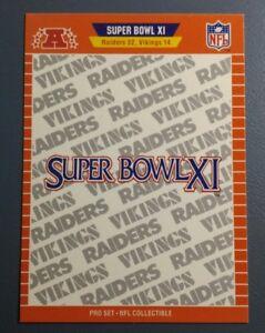 SUPER-BOWL-XI-1989-PRO-SET-FOOTBALL-CARD-XI-B9426