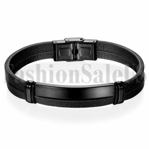 """Stainless Steel Magnetic Clasp Leather Bracelets for Men Cuff Bracelet 7.5-8.5/"""""""