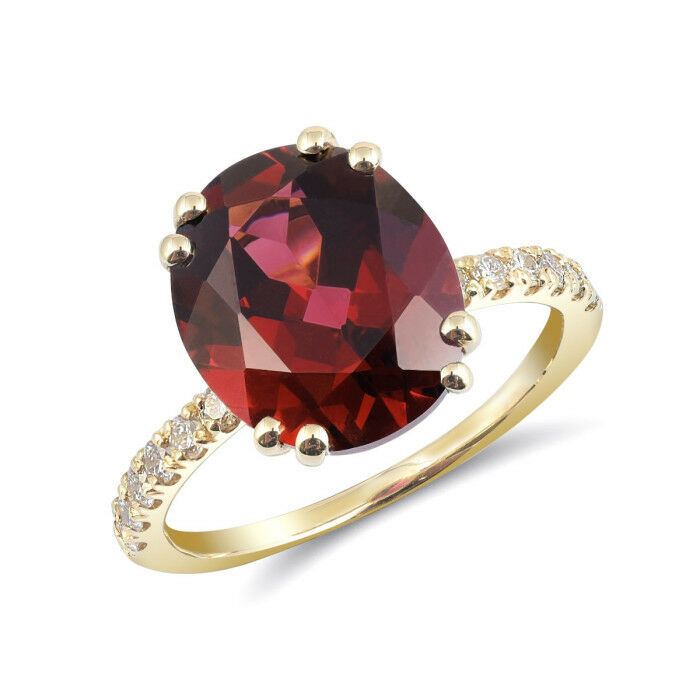 Natural Rhodolite Garnet 5.77 carats set in 14K Yellow gold Ring with Diamonds