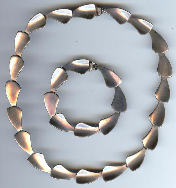 Angemessen Vintage Modernist Gestempelt Mexico Sterlingsilber Halskette & Armband Set