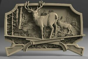 STL 3D Model # DEER /& RIFLES #  for CNC Aspire Artcam 3D Printer