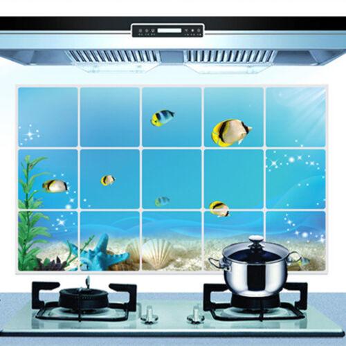 Oil Proof Sticker Aluminum Foil Decal Decor Kitchen Decorate 45CMx75CM Removable