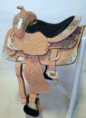 """15/"""" Youth Western Show Fully Tooled Silver Saddle FQHB Pink//Black Suede Seats"""