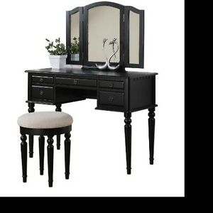 Vanity Table Antique Dressing Mirror Home Black Dresser Desk Beveled Wood Art