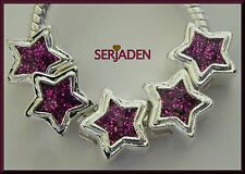 5 Purple Sparkly Star Charm Spacers 11x11 & 5 mm hole Fits European Jewelr  S104