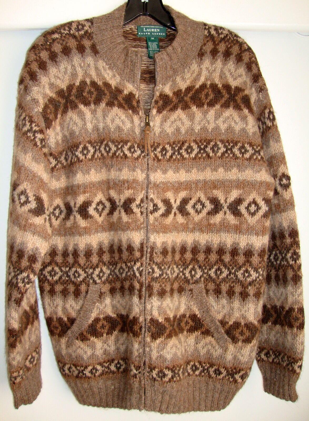Ralph Lauren Hand Knit Sweater Size Medium Fair Isle Design Brown