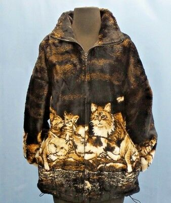 Kitty Cat Plush Fleece Coat Jacket Cats Kitten S M L XL 2XL Made in USA Mazmania