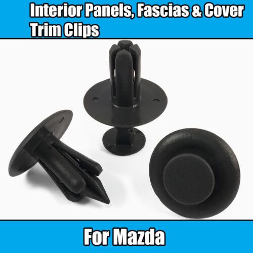 Fascias /& Covers Dark Grey Plastic 10x Trim Clips For Mazda 6mm Interior Panels
