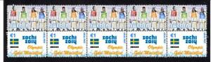 2014-SOCHI-OLYMPIC-GOLD-STRIP-OF-10-MINT-STAMPS-SWEDEN-WOMENS-SKIING-TEAM