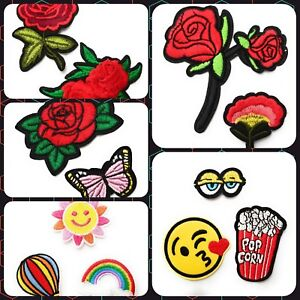 Red Rose Flower Emoji Rainbow Iron On Applique Embroidered Patch