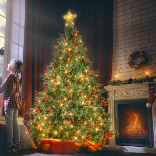 4//5//6//7 ft Artificial Christmas Tree with Fairy Light,metal base,Remote Control