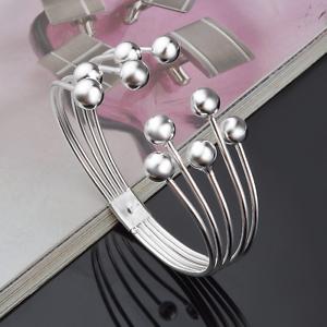 Fashion-Women-925-Silver-Plated-Beads-Bangle-Cuff-Open-Bracelet-Jewelry-Gift-New