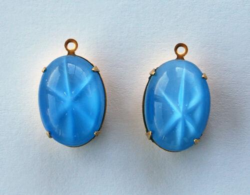 VINTAGE GLASS PENDANT BEADS STAR MOONSTONE LIGHT SAPPHIRE BLUE MOON STONE 18X13