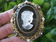 VINTAGE WEST GERMANY (UNUSED) HUGE RHINESTONE/FAUX PEARL BLACK CAMEO BROOCH/PIN