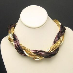 Multi-14-Strand-Vintage-Torsade-Necklace-Mixed-Metals-Extra-Wide-Gold-Plated
