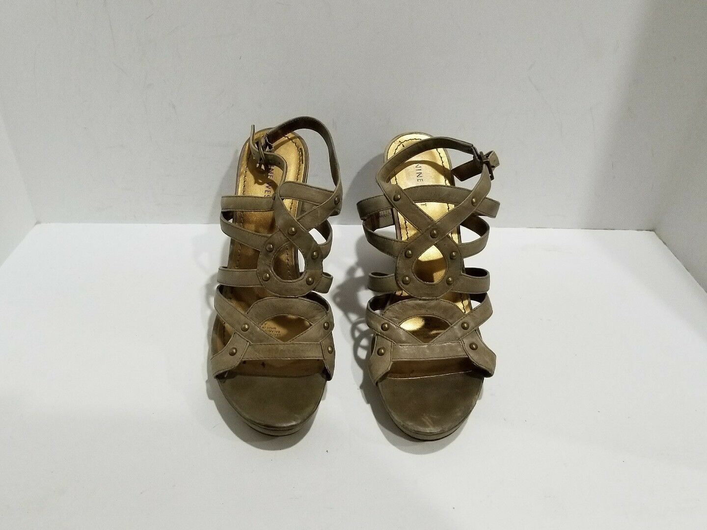 Nine West Browninsh Sandals Greenish Leather Skingback Wedge Sandals Browninsh Size 9.5 M 37cb9a