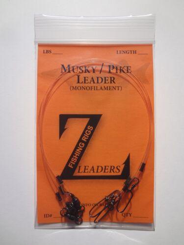 BEARING SWIVEL 3-Pack MUSKIE LEADER MUSKY // PIKE CLEAR MONOFILAMENT LEADERS