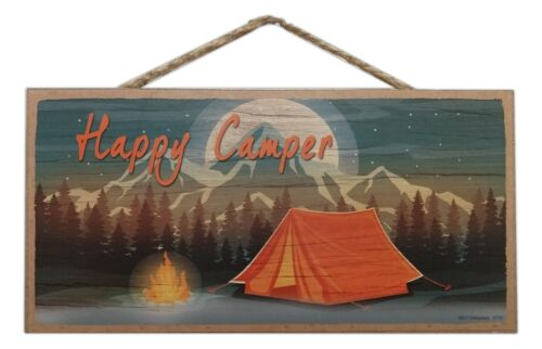 "HAPPY CAMPER Tent Camping Primitive Wood Hanging Plaque 5/"" x 10/"""