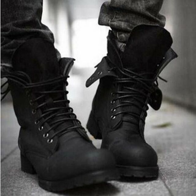 Mens British Style Mid-Calf Military Combat Boots Lace Up Low Heel Fashion Shoes