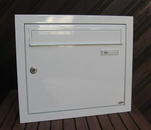 gro er briefkasten unterputz wandeinbau alu ral 9016 wei made in germany. Black Bedroom Furniture Sets. Home Design Ideas