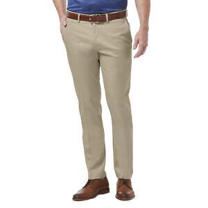 HAGGAR-Premium-No-Iron-Pants-Slim-Fit-Stretch-Fabric-Flex-Waist-Flat-Sand-Beige