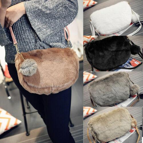 C1F3 Faux Fur Single Shoulder Bag Sling Bag Women/'S Fashion Handbag Popular